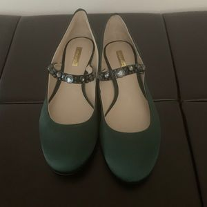 Shoes , green satin flats